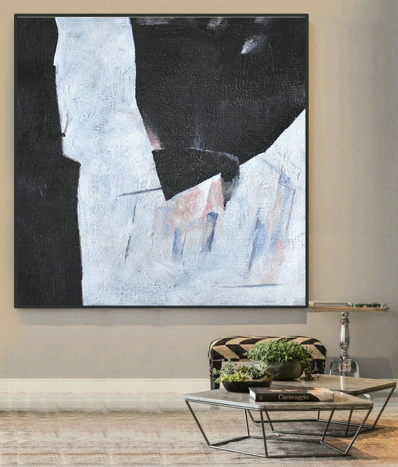 Hand-Painted Oversized Minimal Black And White Painting,Hand Paint Large Art #E1M8