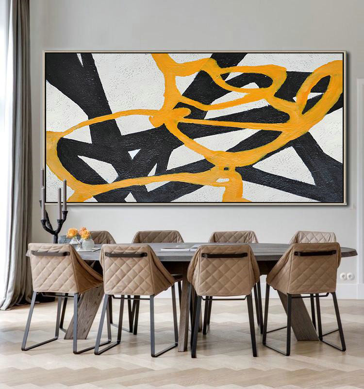 Hand-Painted Oversized Panoramic Minimal Art,Canvas Painting Wall Decor #K1P3