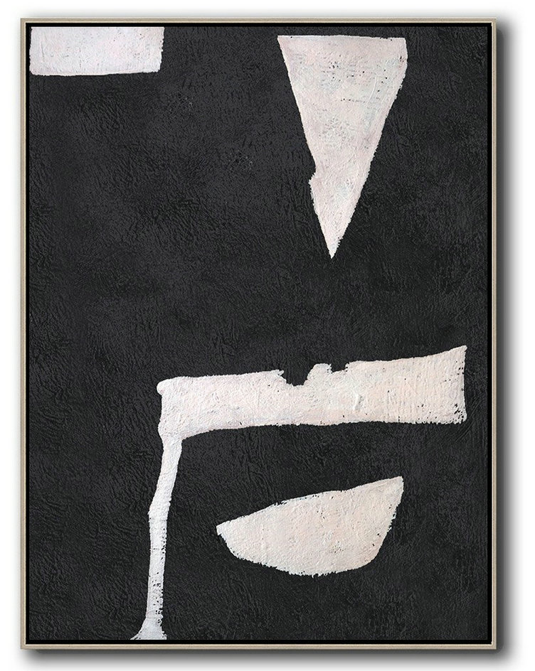 Hand-Painted Black And White Minimal Painting,Hand Paint Abstract Painting #V9Q4