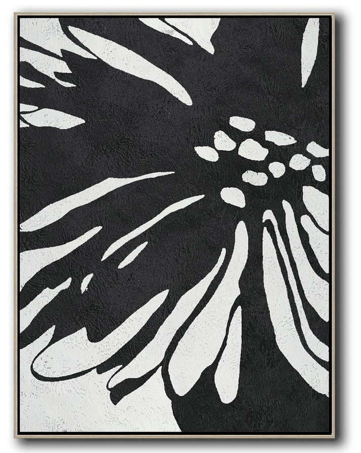 Hand-Painted Black And White Minimal Painting,Extra Large Paintings #E4Q0