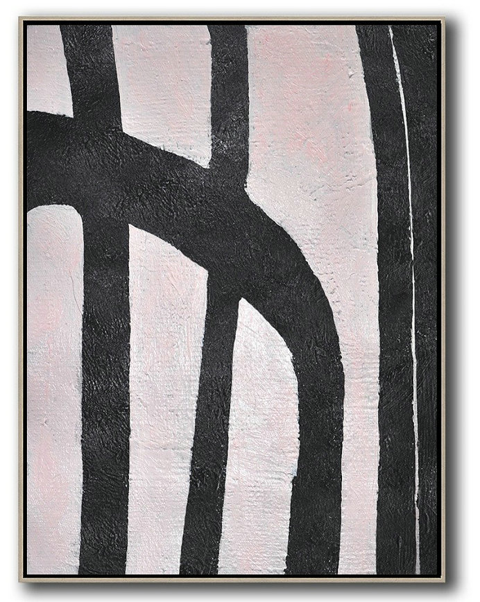 Hand-Painted Black And White Minimal Painting,Original Abstract Painting Canvas Art #F1E9