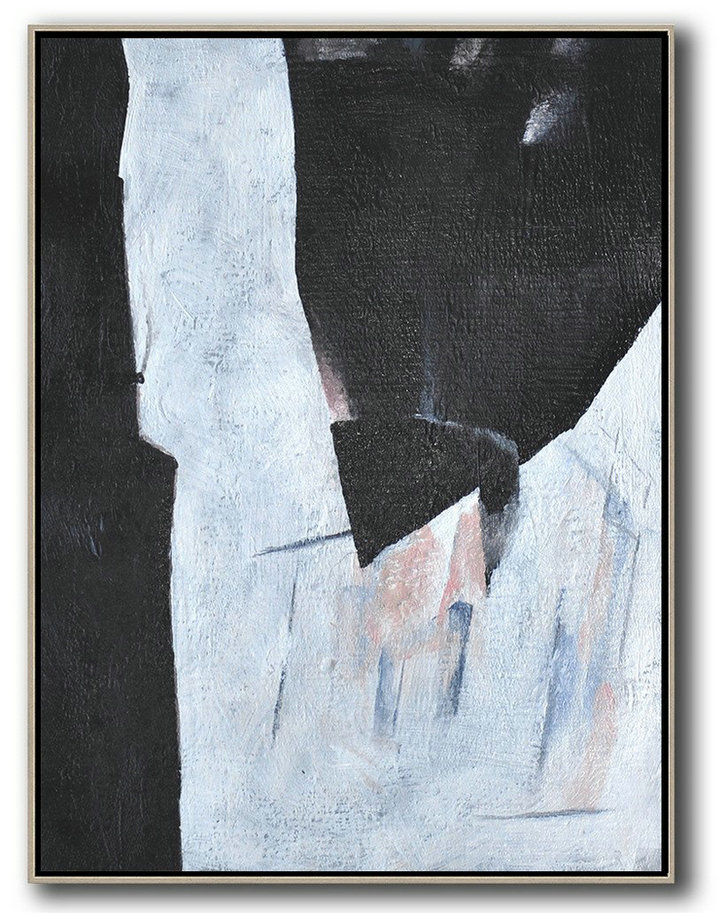 Hand-Painted Black And White Minimal Painting,Hand Painted Aclylic Painting On Canvas #M6M3