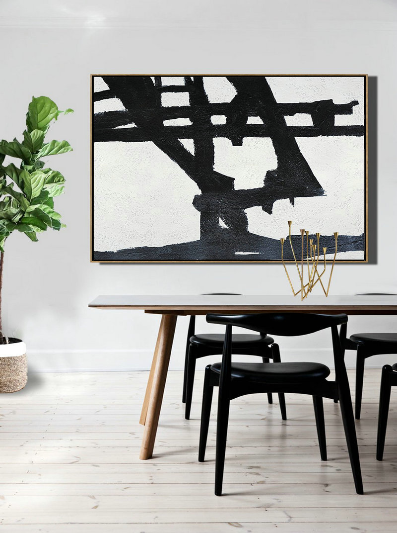 Hand Painted Oversized Horizontal Minimal Art On Canvas, Black And White Minimalist Painting,Hand Painted Aclylic Painting On Canvas #K2S0