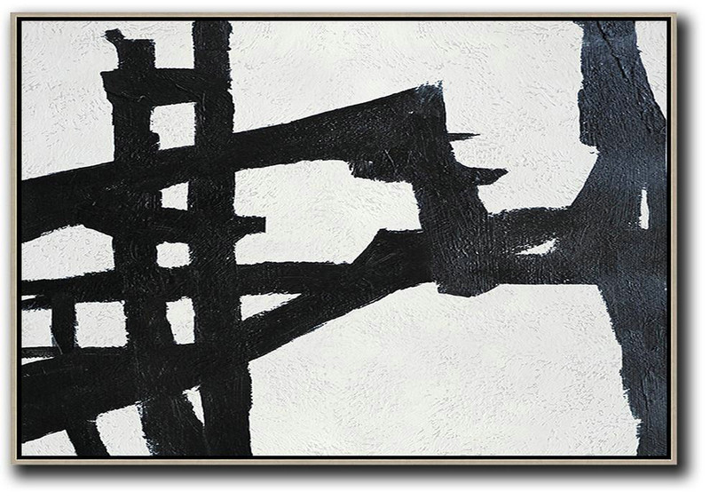 Hand Painted Oversized Horizontal Minimal Art On Canvas, Black And White Minimalist Painting,Extra Large Wall Art #B9T3