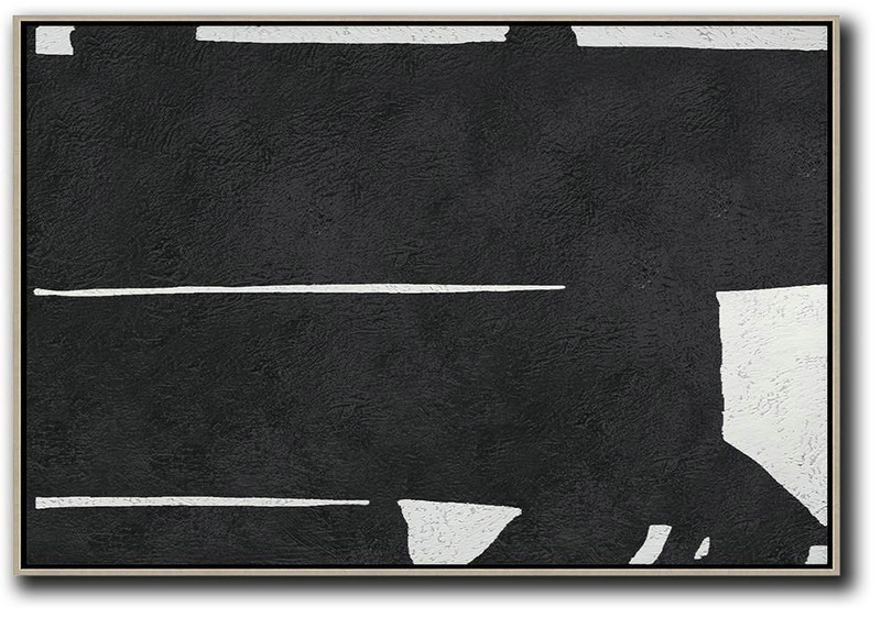 Hand Painted Oversized Horizontal Minimal Art On Canvas, Black And White Minimalist Painting,Artwork For Sale #Y2V4