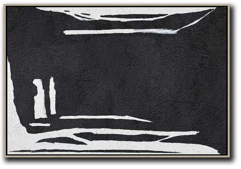 Hand Painted Oversized Horizontal Minimal Art On Canvas, Black And White Minimalist Painting,Modern Paintings #P6W5