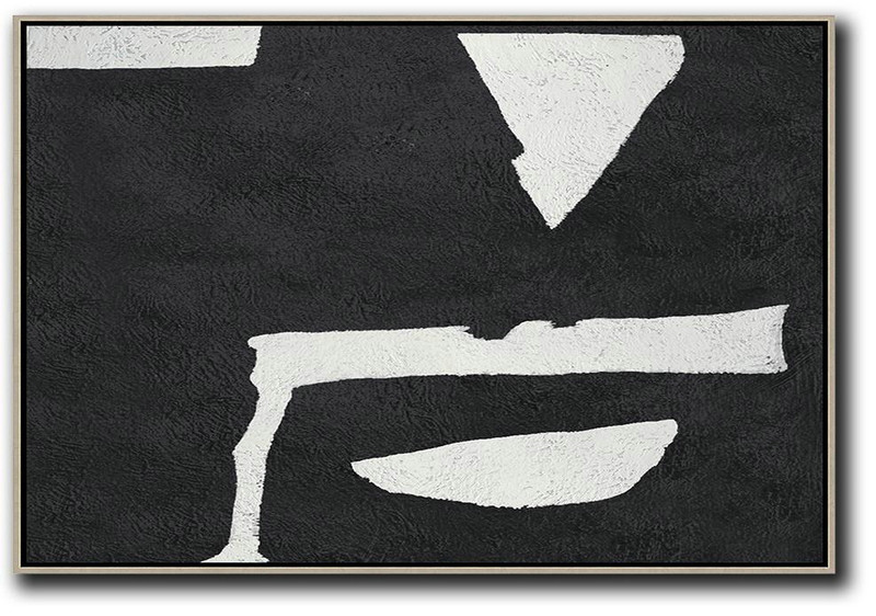 Hand Painted Oversized Horizontal Minimal Art On Canvas, Black And White Minimalist Painting,Canvas Wall Art #V2C7