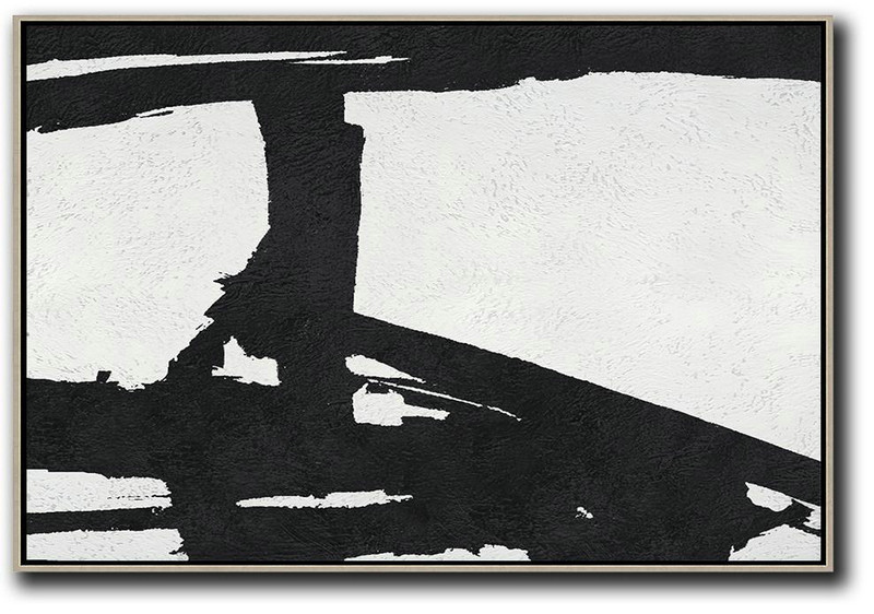 Hand Painted Oversized Horizontal Minimal Art On Canvas, Black And White Minimalist Painting,Canvas Wall Paintings #M7P8