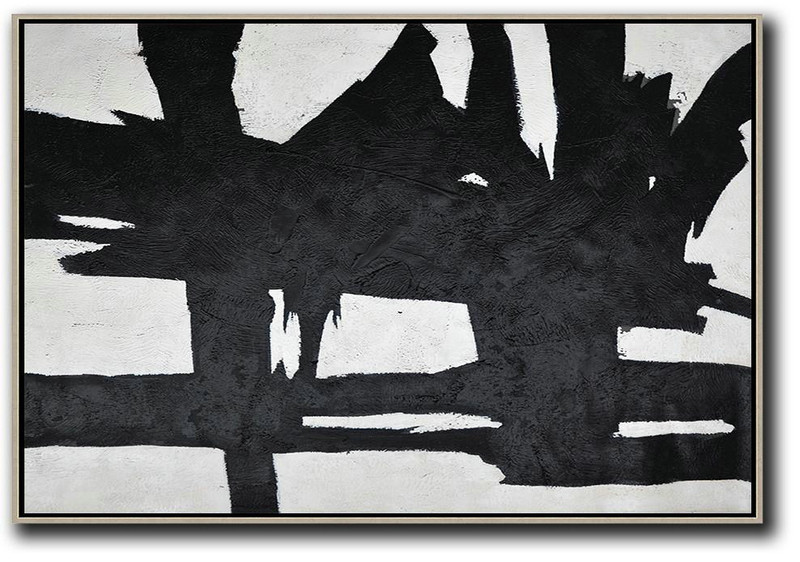 Hand Painted Oversized Horizontal Minimal Art On Canvas, Black And White Minimalist Painting,Modern Abstract Wall Art #P2I4