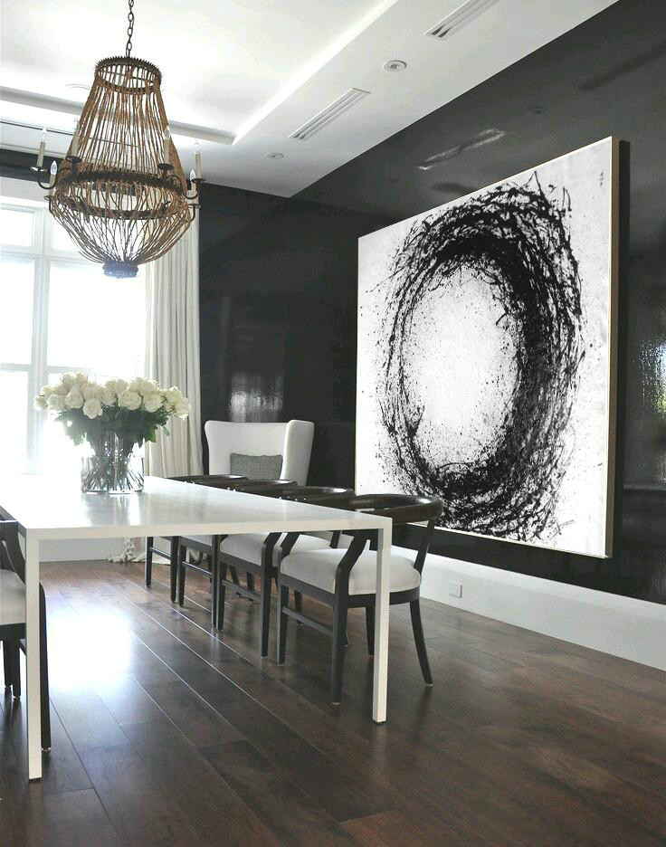 Oversized Horizontal Minimalist Drip Painting On Canvas, Black And White,Unique Canvas Art #G8A9