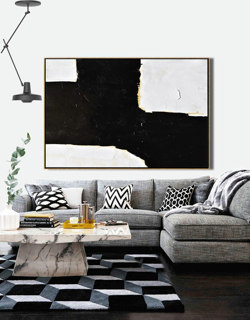 Horizontal Palette Knife Minimal Canvas Art Painting Black White Beige,Hand-Painted Canvas Art #Q5A6