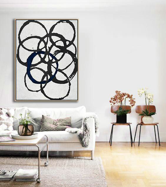 Black And White Geometric Art Minimal Painting On Canvas,Modern Wall Decor #P9L2