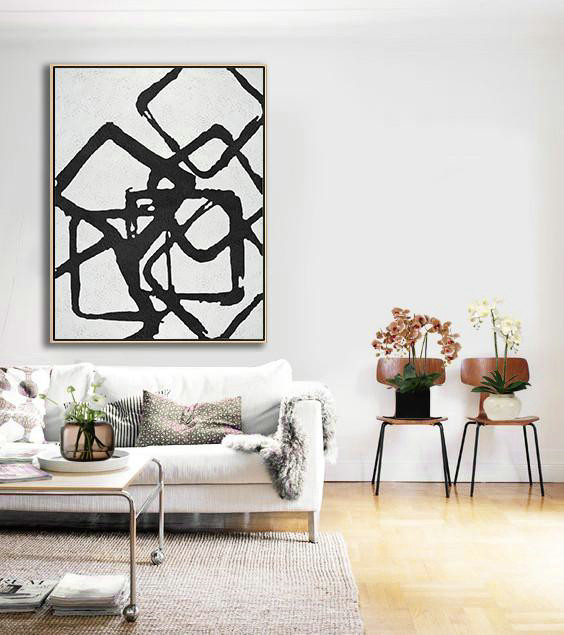 Black And White Geometric Art Minimal Painting On Canvas,Contemporary Wall Art #R4Y1