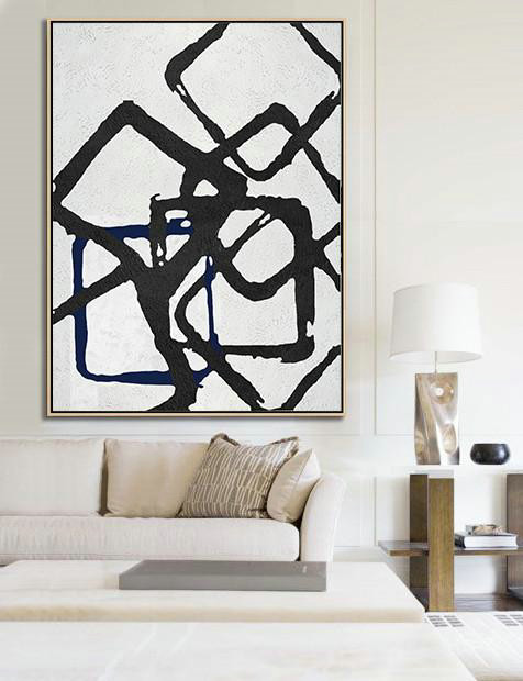 Black And White Geometric Art Minimal Painting On Canvas,Extra Large Canvas Painting #J6X4