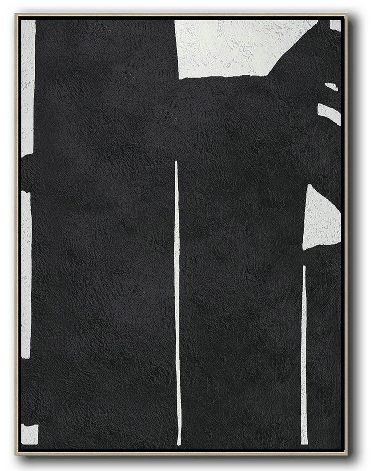 Black And White Minimal Painting On Canvas,Modern Wall Decor #Q5C5