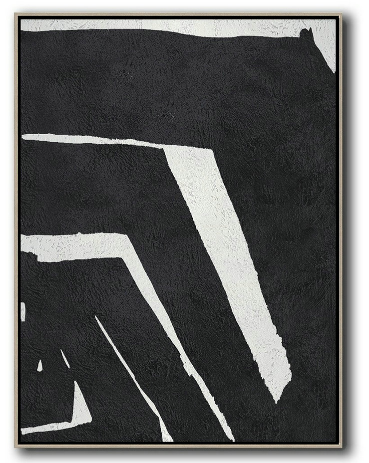 Black And White Minimal Painting On Canvas,Acrylic Minimailist Painting #G8Q8