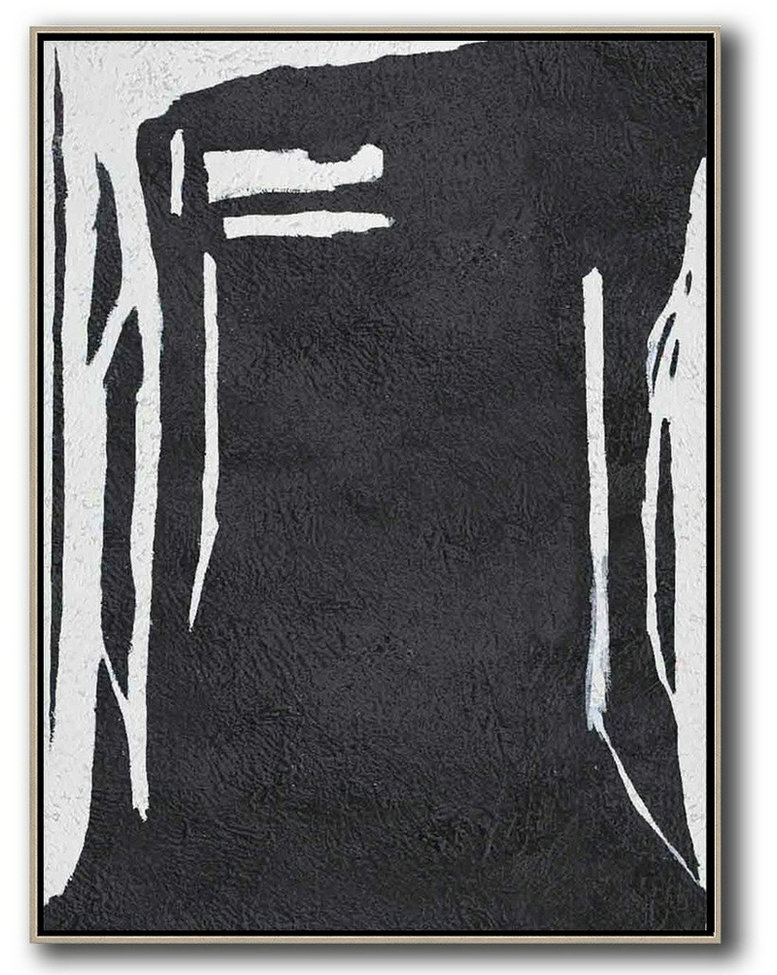 Black And White Minimal Painting On Canvas,Hand Paint Large Art #Z2K3