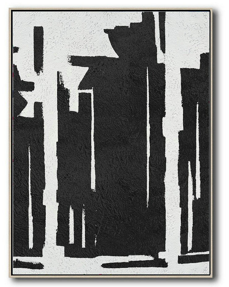 Black And White Minimal Painting On Canvas,Original Art Acrylic Painting #Q9E9