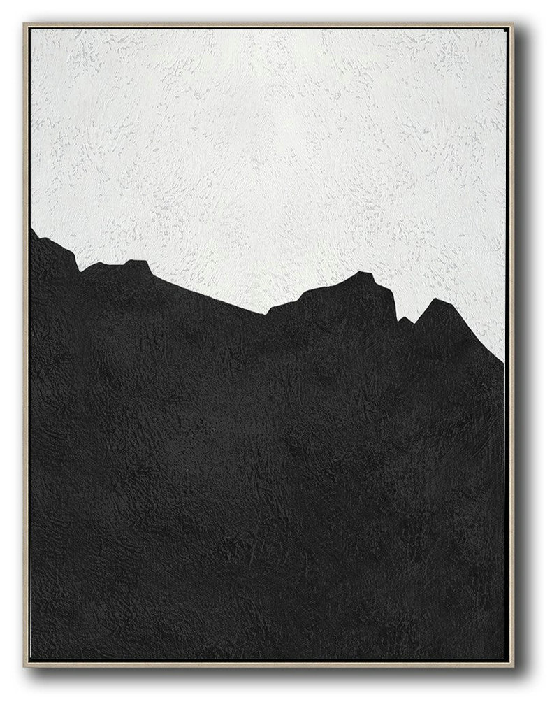 Black And White Minimal Painting On Canvas,Contemporary Art Canvas Painting #H6W4