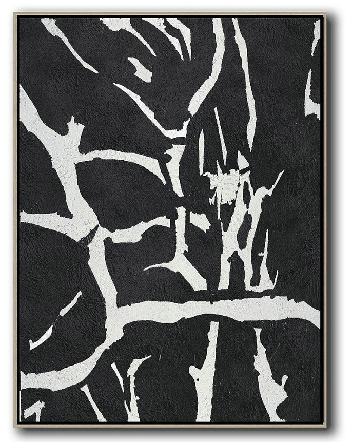 Black And White Minimalist Painting On Canvas,Acrylic Painting Wall Art #J9U4