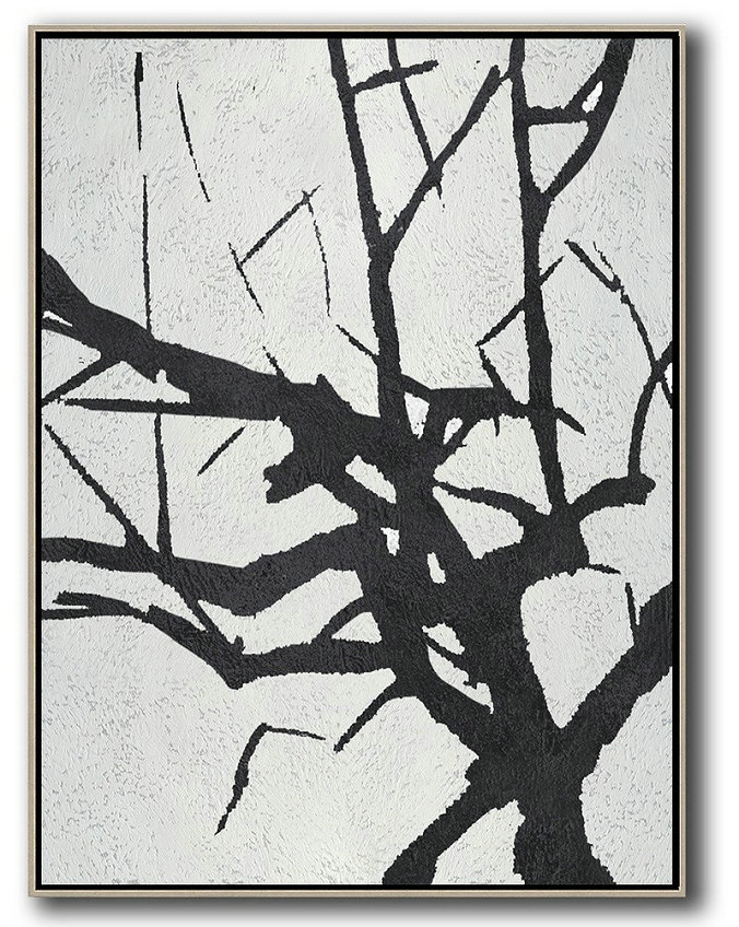 Black And White Minimalist Painting On Canvas,Hand Made Original Art #L0U1