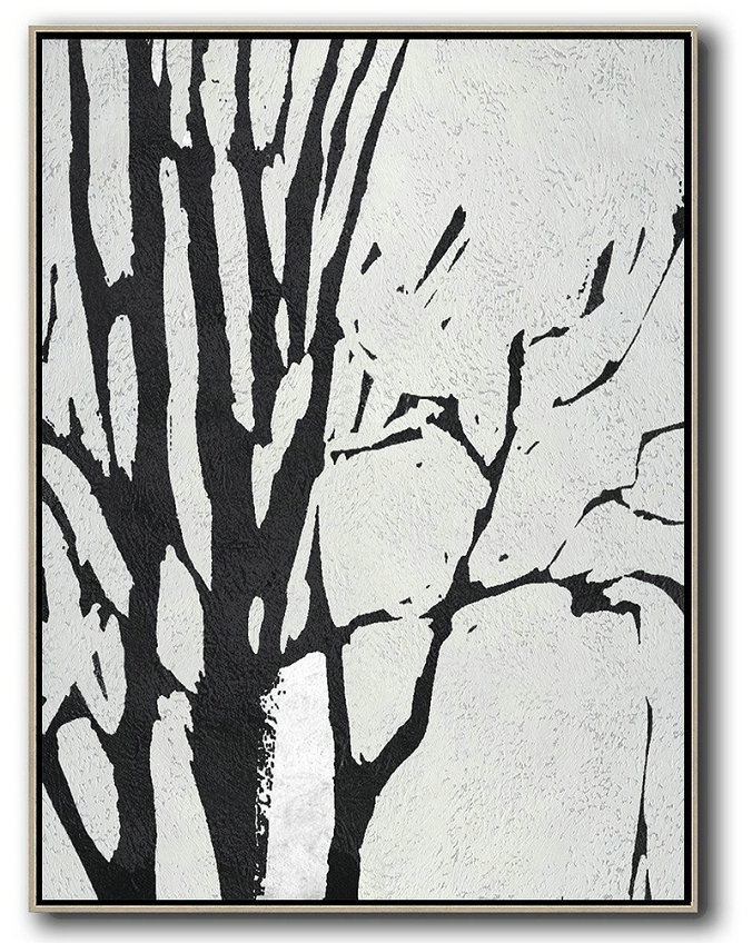 Black And White Minimalist Painting On Canvas,Hand Painted Abstract Art #D0L4
