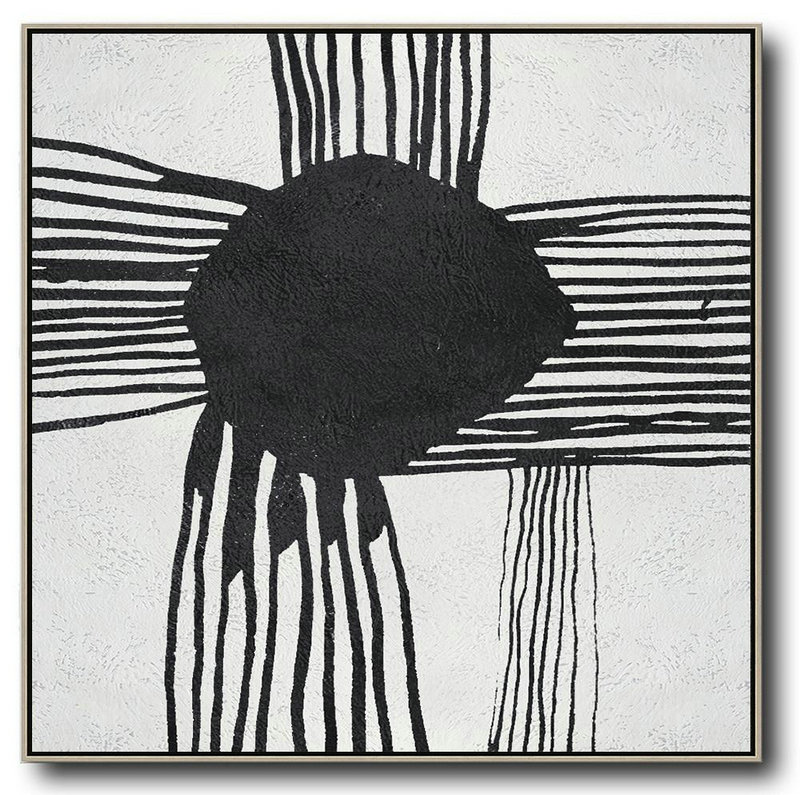 Oversized Minimal Black And White Painting,Modern Paintings On Canvas #G5J0