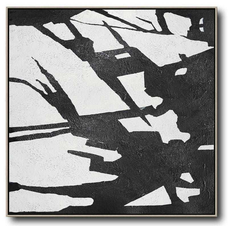 Oversized Minimal Black And White Painting,Extra Large Wall Art #X8K0