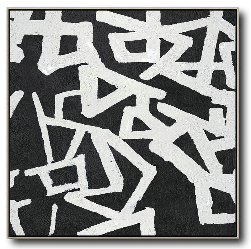 Oversized Minimal Black And White Painting,Modern Abstract Wall Art #Z0J8