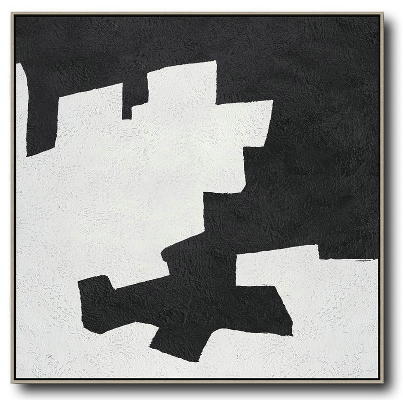 Oversized Minimal Black And White Painting,Huge Abstract Canvas Art #W5J3