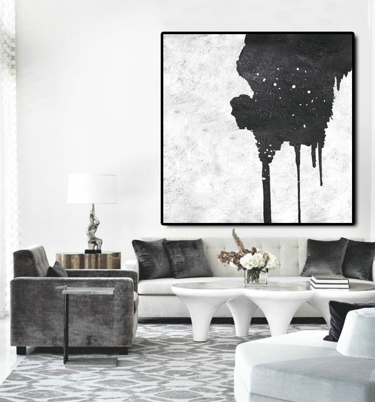 Oversized Minimal Black And White Painting,Acrylic Painting Large Wall Art #A8O8
