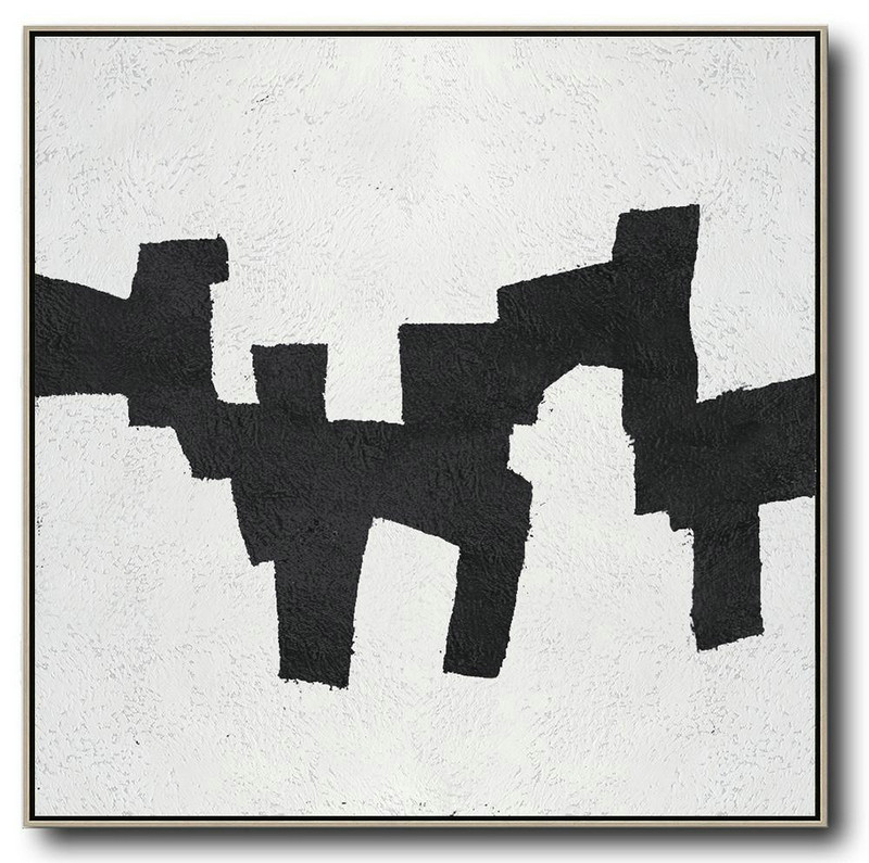 Oversized Minimal Black And White Painting,Large Oil Canvas Art #C5M4