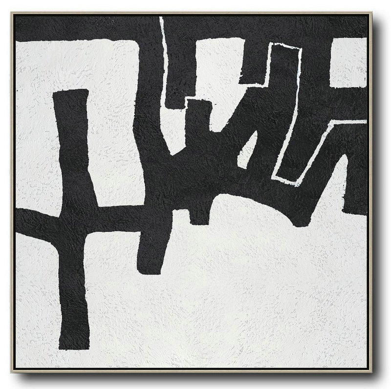 Oversized Minimal Black And White Painting,Large Canvas Wall Art For Sale #B9G0