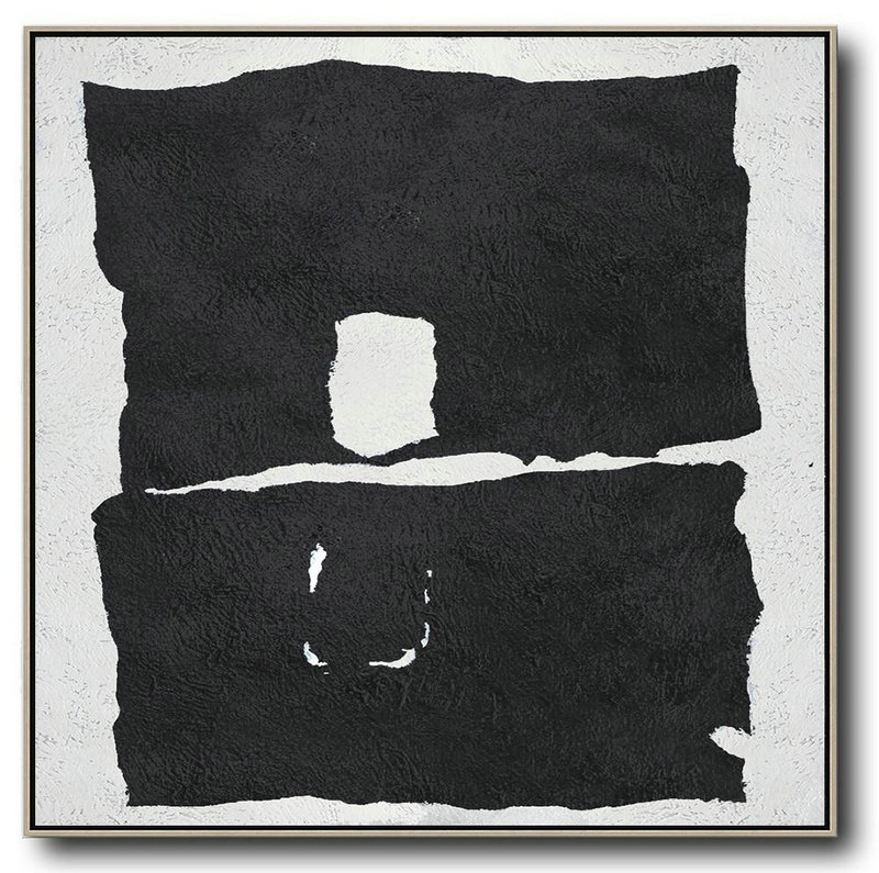 Oversized Minimal Black And White Painting,Modern Paintings On Canvas #U3Y9