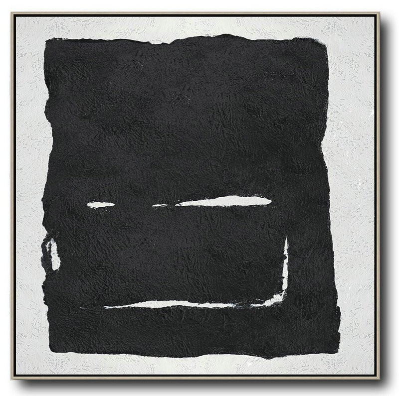 Oversized Minimal Black And White Painting,Large Wall Canvas #K0I5