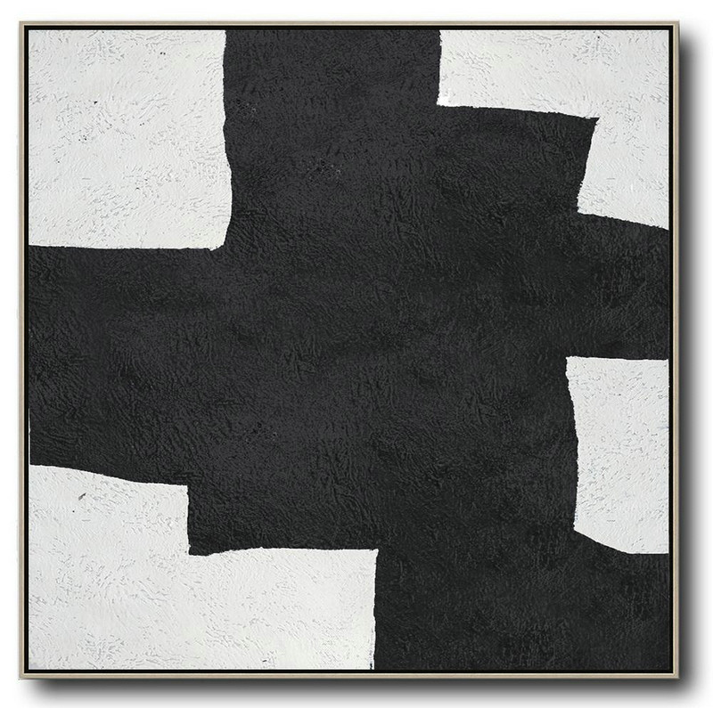 Oversized Minimal Black And White Painting,Unique Canvas Art #Q7A8
