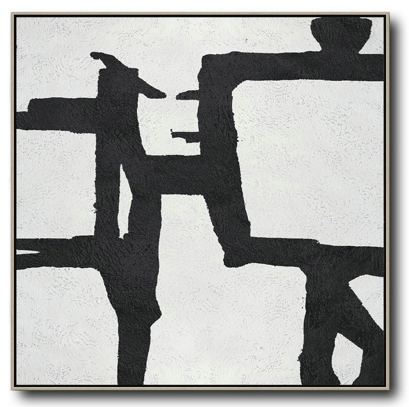 Oversized Minimal Black And White Painting,Large Paintings For Living Room #I5M2