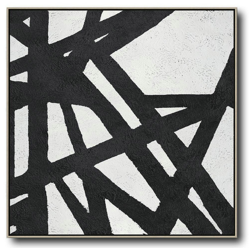 Oversized Minimal Black And White Painting,Abstract Painting On Canvas #X4P2