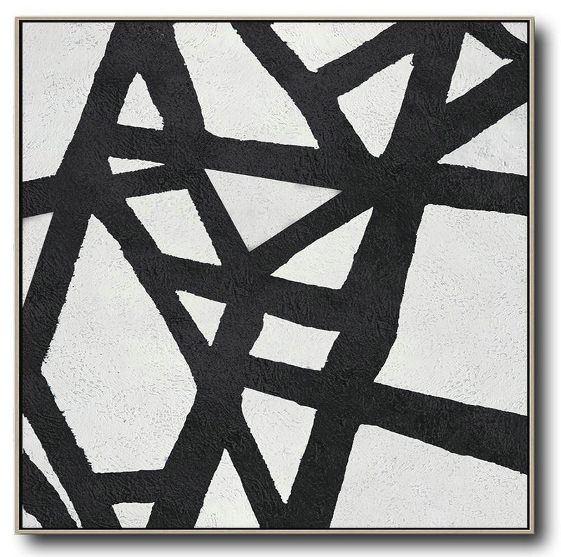 Oversized Minimal Black And White Painting,Large Wall Art Canvas #O4M9
