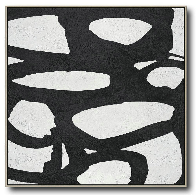 Oversized Minimal Black And White Painting,Canvas Wall Paintings #K3D1