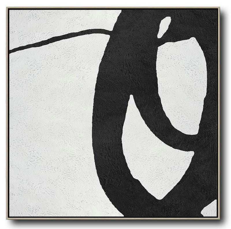 Oversized Minimal Black And White Painting,Art Work #G0M7
