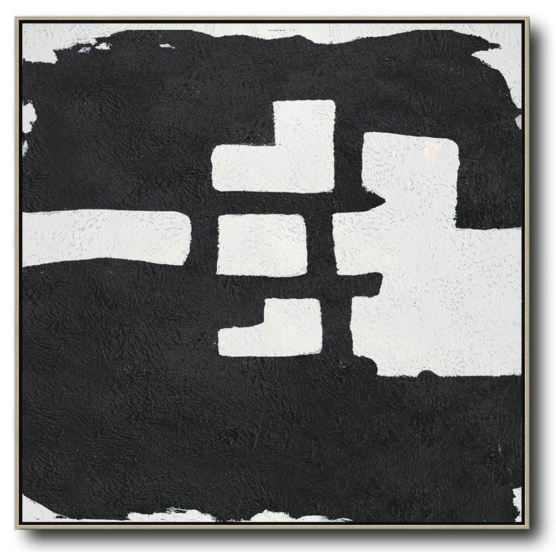 Oversized Minimal Black And White Painting,Abstract Painting On Canvas #T4E8