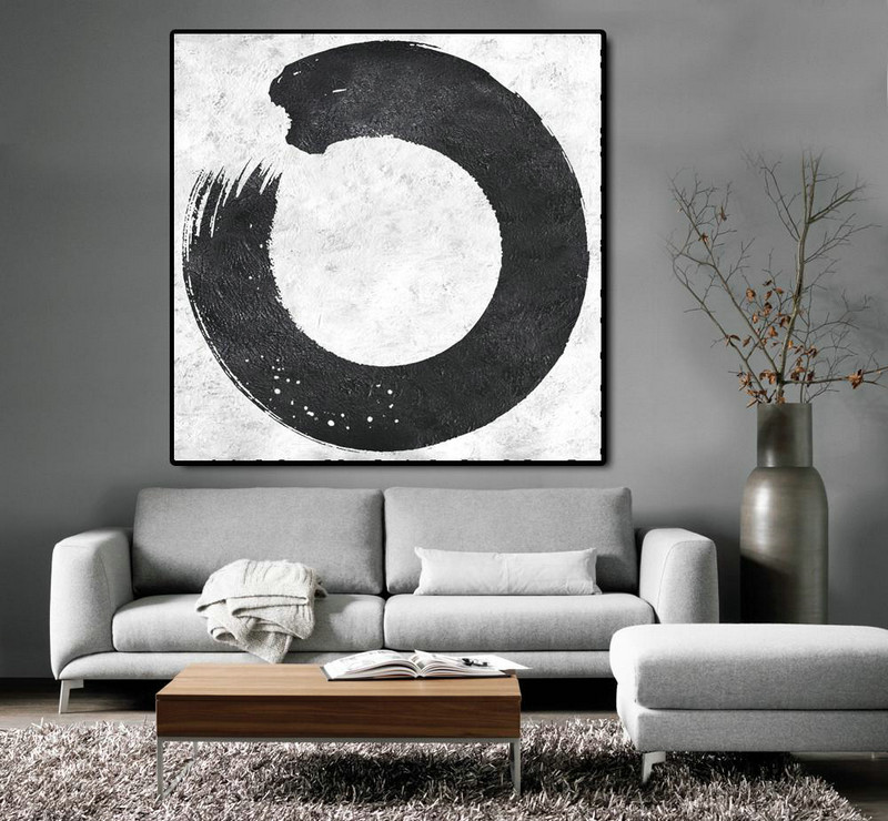 Oversized Minimal Black And White Painting,Hand Paint Large Art #Y2X1