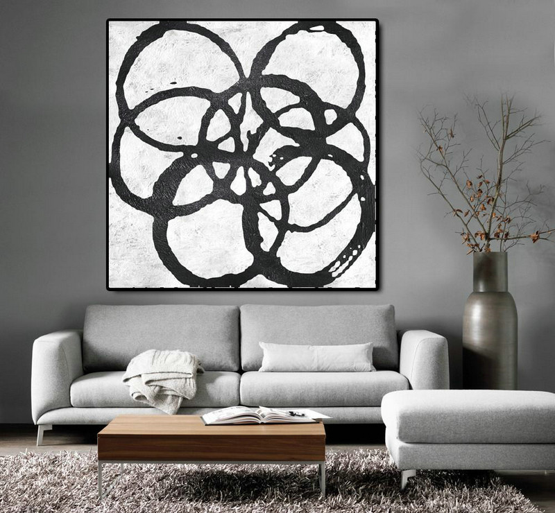 Oversized Minimal Black And White Painting,Textured Painting Canvas Art #C1Z1