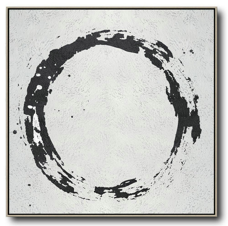 Oversized Minimal Black And White Painting,Original Art #Q7C4