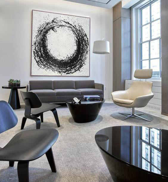 Oversized Minimal Black And White Painting,Large Abstract Wall Art #V1A1
