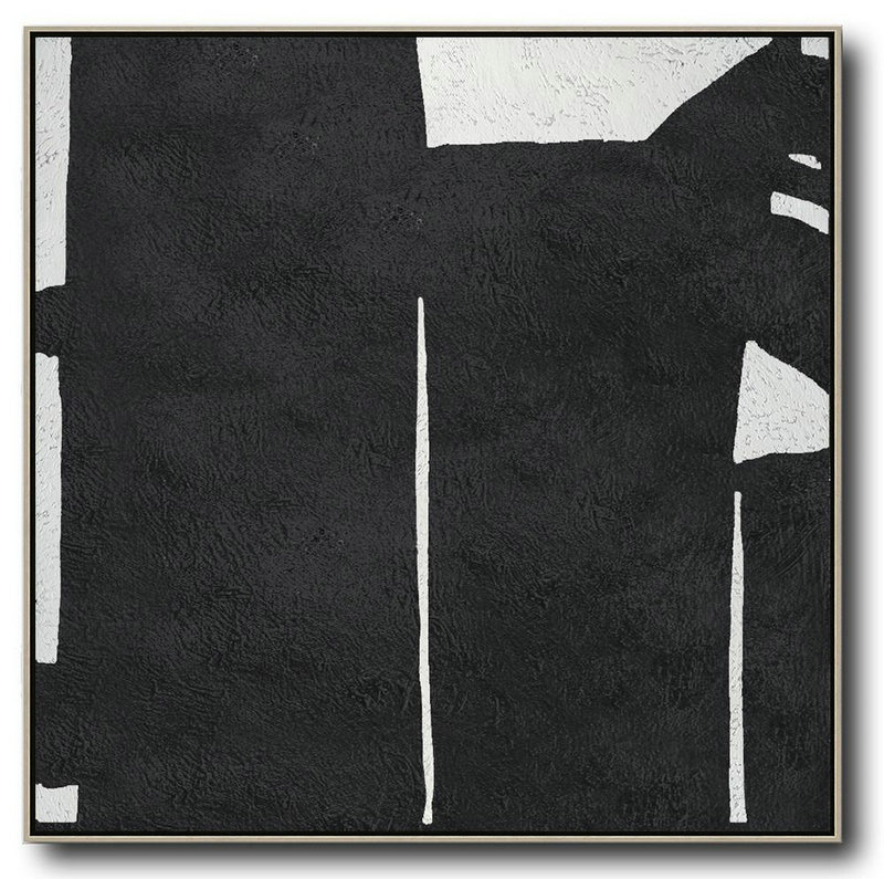 Oversized Minimal Black And White Painting,Handmade Acrylic Painting #E3R5