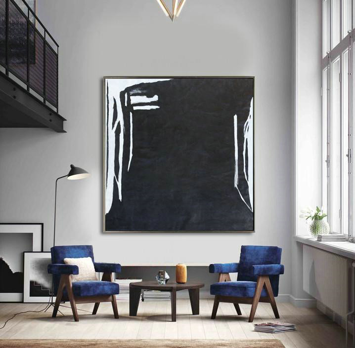 Oversized Minimal Black And White Painting,Original Art Acrylic Painting #T8N0