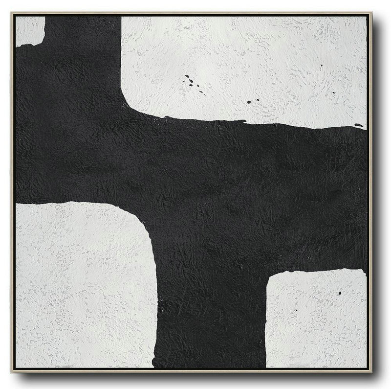 Oversized Minimal Black And White Painting,Original Art #Q8Q4