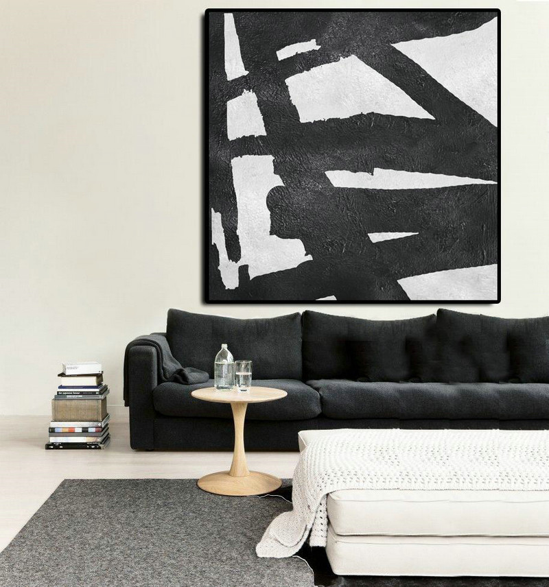 Oversized Minimal Black And White Painting,Oversized Canvas Art #S6N7